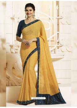 Yellow Georgette Silk Designer Party Wear Saree