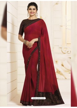 Maroon Georgette Silk Designer Party Wear Saree