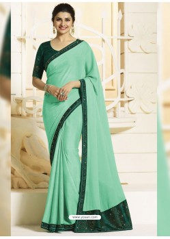 Sea Green Georgette Silk Designer Party Wear Saree