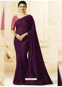 Purple Georgette Silk Designer Party Wear Saree