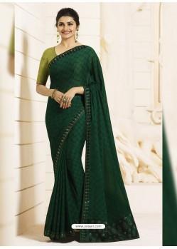 Dark Green Georgette Silk Designer Party Wear Saree