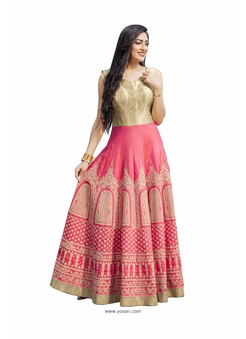 2d6a38ae7e Light Pink And Beige Art Silk With Thread Embroidery Designer Readymade Gown