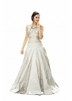 Awesome Off White Thread Embroidered Designer Readymade Gown