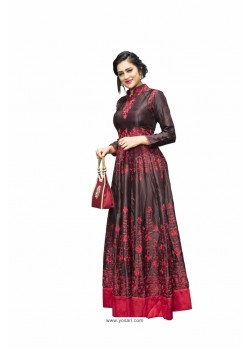 Beautiful Wine Satin Silk With Contrasting Coloured Thread Work Designer Readymade Gown