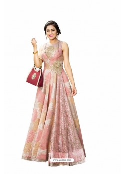 Baby Pink Embroidered Designer Readymade Floor Length Gown