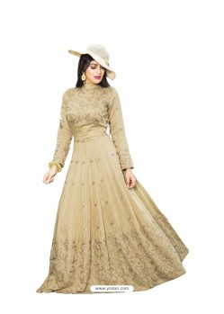 Rich and Elegant Beige Cotton Silk Resham Embroidered Designer Floor Length Readymade Gown