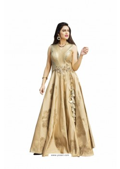 Golden Art Silk Party Wear Designer Readymade Floor Length Gown