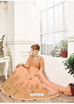 Light Orange Georgett Embroidered Designer Anarkali Suit