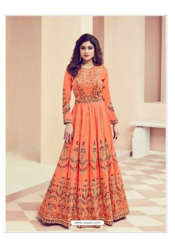 Orange Embroidered Melbourne Silk Designer Anarkali Suit