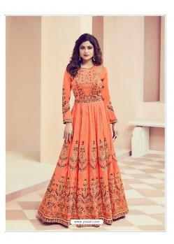 Orange Embroidered Melbourne Silk Designer Anarkali Suit