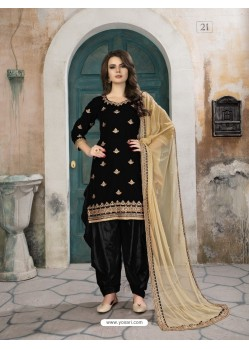 Black Velvet Designer Embroidered Patiala Suit