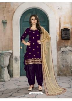Purple Velvet Designer Embroidered Patiala Suit
