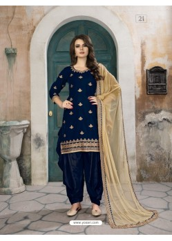 Navy Blue Velvet Designer Embroidered Patiala Suit