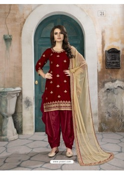 Maroon Velvet Designer Embroidered Patiala Suit