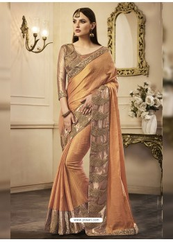 Light Orange Embroidered Chandan Silk Designer Saree