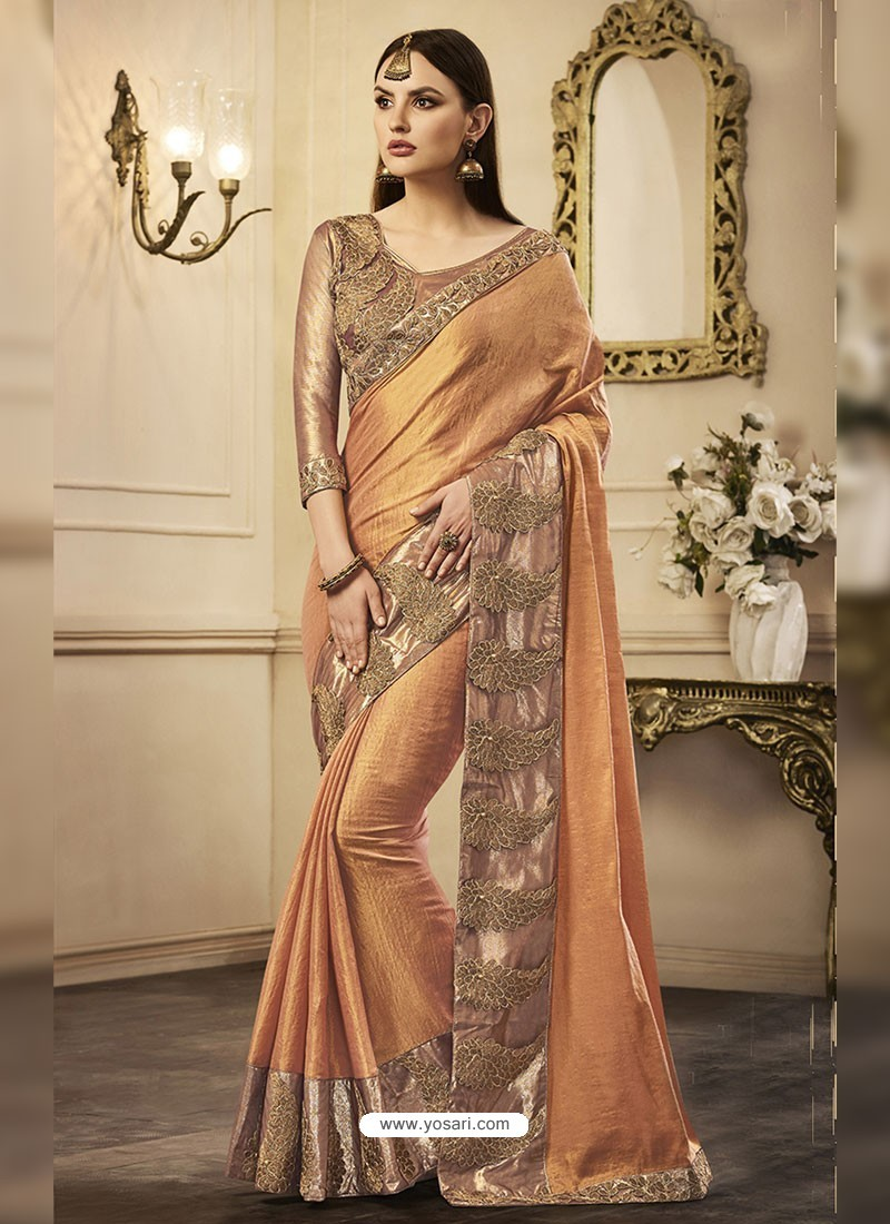 6cd9132530f Buy Light Orange Embroidered Chandan Silk Designer Saree