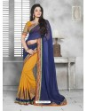 Mustard And Blue Embroidered Work Saree