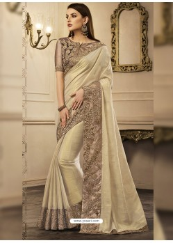 Cream Embroidered Chandan Silk Designer Saree