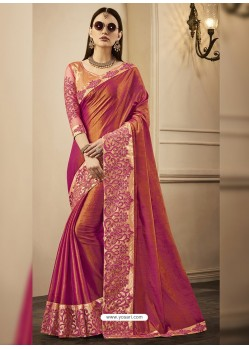 Rust Embroidered Chandan Silk Designer Saree