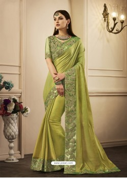 Green Embroidered Chandan Silk Designer Saree