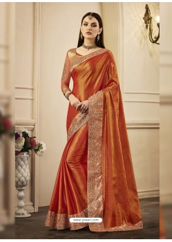 Orange Embroidered Chandan Silk Designer Saree