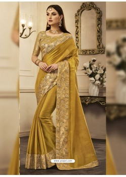 Olive Green Embroidered Chandan Silk Designer Saree