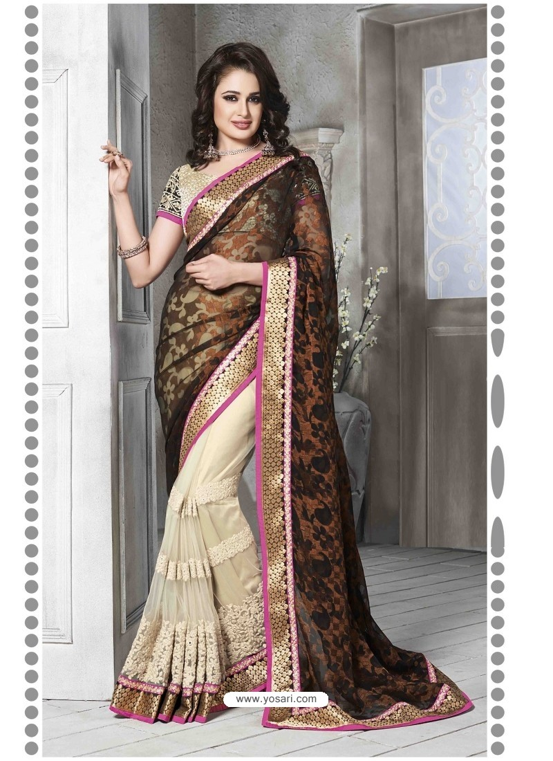 Cream And Black Embroidered Work Saree