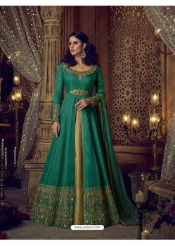 Teal Heavy Embroidered Silk Designer Anarkali Suit