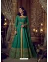 Teal Heavy Embroidered Silk Designer Anarkali Suit