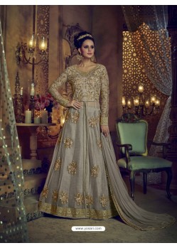 Taupe Heavy Embroidered Net Designer Anarkali Suit