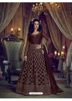 Maroon Heavy Embroidered Net Designer Anarkali Suit