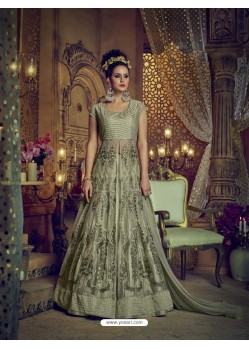 Olive Green Heavy Embroidered Net Designer Anarkali Suit