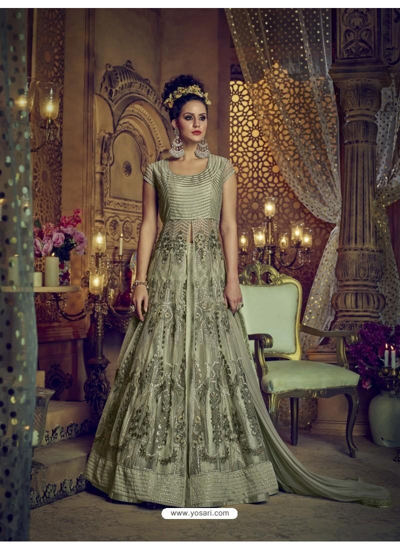 069af5d8b5 Buy Olive Green Heavy Embroidered Net Designer Anarkali Suit ...