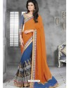 Orange And Blue Embroidered Work Saree