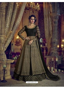 Black Heavy Embroidered Net Designer Anarkali Suit