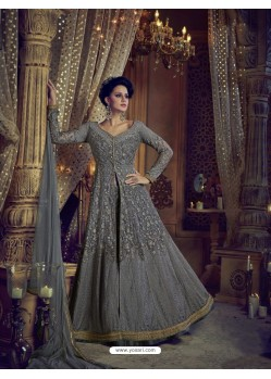 Grey Heavy Embroidered Net Designer Anarkali Suit