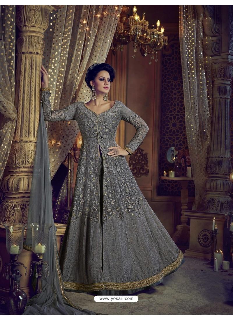 8dc44ad3f3 Buy Grey Heavy Embroidered Net Designer Anarkali Suit | Anarkali Suits