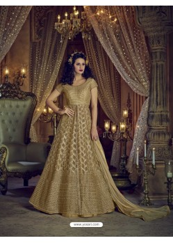 Golden Heavy Embroidered Net Designer Anarkali Suit