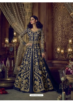 Navy Blue Heavy Embroidered Net Designer Anarkali Suit