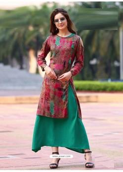 Multi Colour Rayon Printed Designer Kurti