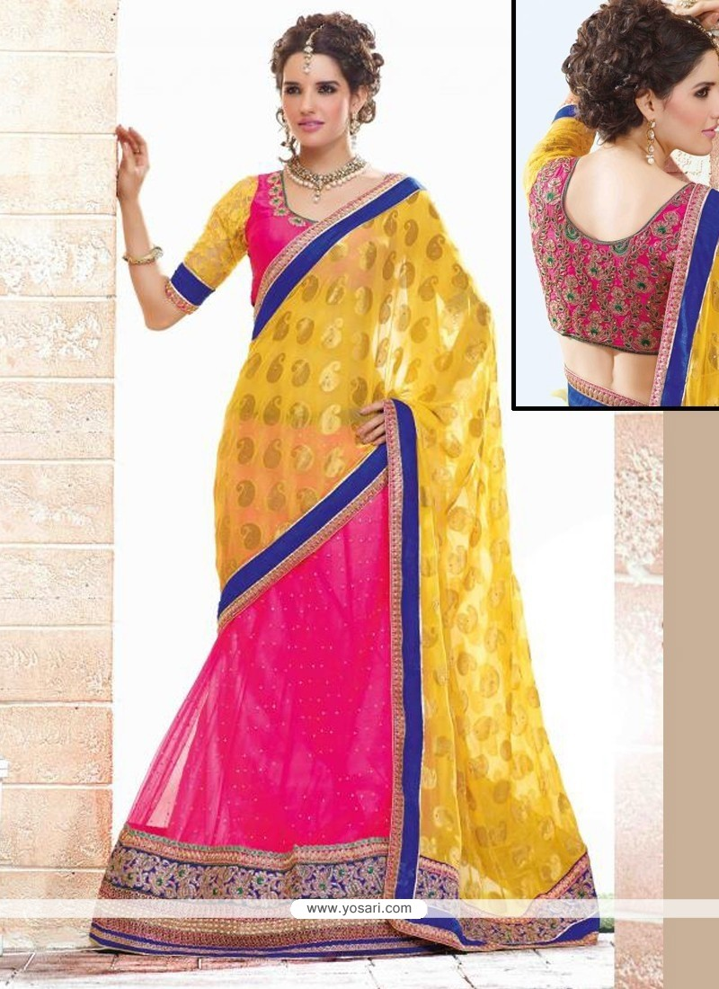 Fab Yellow And Pink Net And Viscose Lehenga Saree