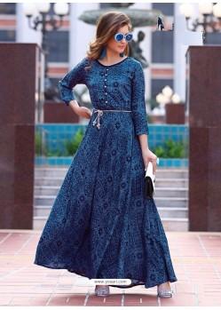 Navy Blue Rayon Printed Designer Kurti
