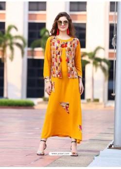 Yellow Rayon Printed Designer Kurti