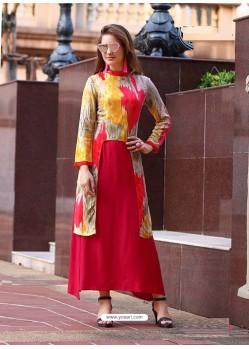 Red And Multi Colour Rayon Printed Designer Kurti