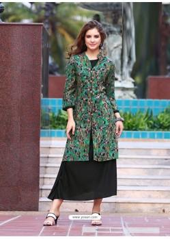 Dark Green And Black Rayon Printed Designer Kurti