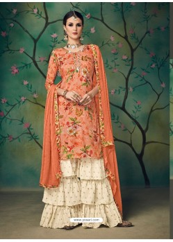 Orange Printed Cotton Hand Worked Designer Plazzo Suit