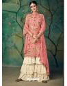 Light Pink Printed Cotton Hand Worked Designer Plazzo Suit