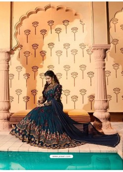 Peacock Blue Embroidered Georgett Designer Anarkali Suit