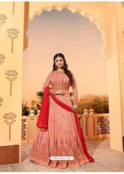 Peach Embroidered Georgett Designer Anarkali Suit