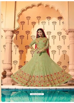 Sea Green Embroidered Georgett Designer Anarkali Suit